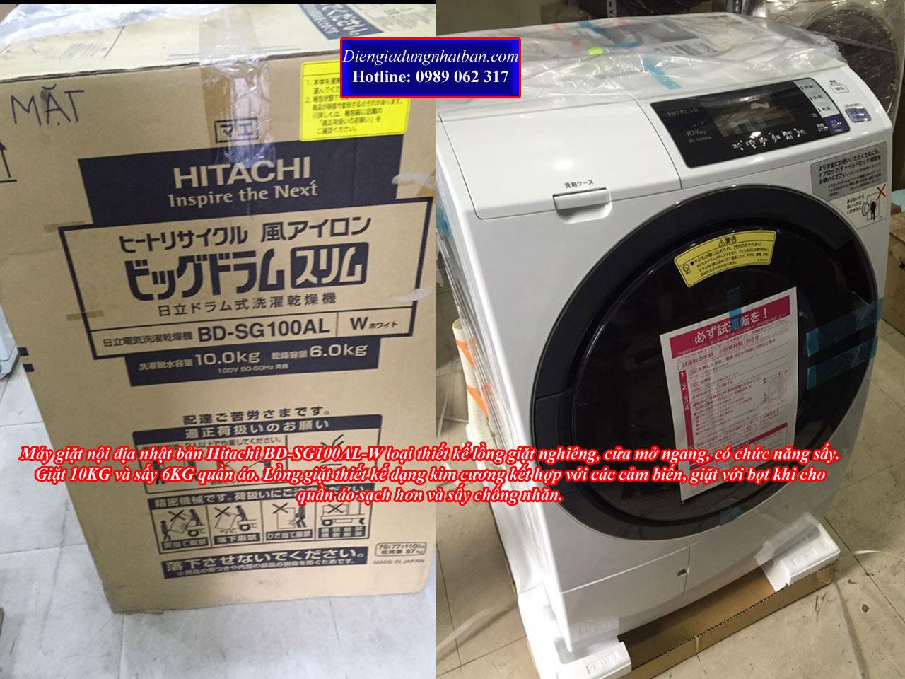 Máy giặt nội địa nhật Hitachi BD-SG100AL tiện ích, chất lượng cao tại Hải Phòng, HN