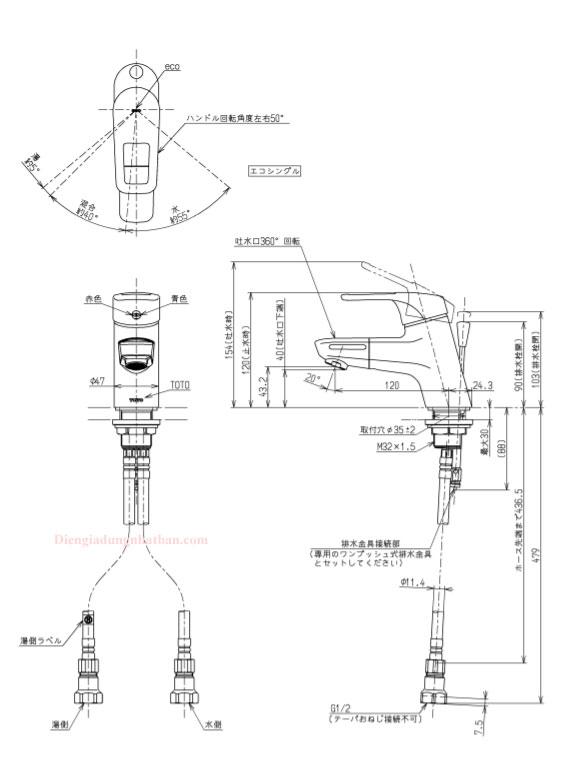 Vòi chậu rửa mặt Toto TLHG31DEF xuất xứ Nhật Bản cao cấp